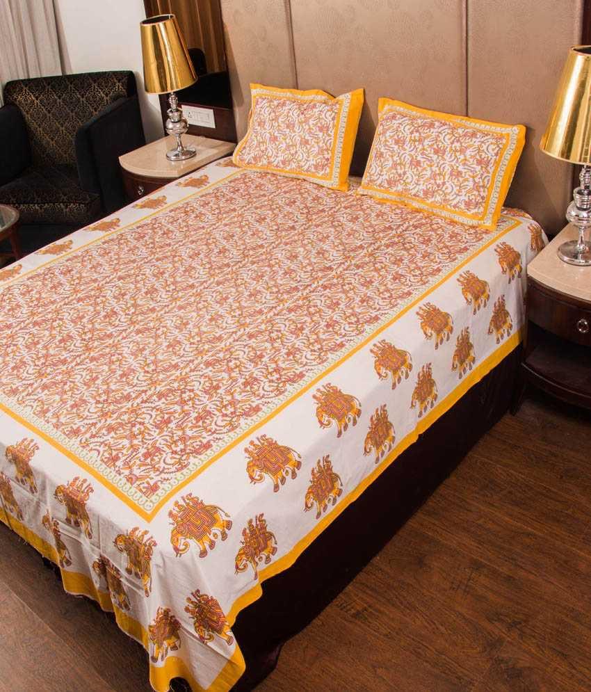 Uniqchoice Multicolour Cotton Double Bedsheet With 2 Pillow Cover