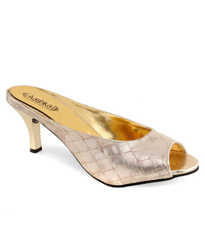 Aashka Silver Medium Heeled Slip Ons