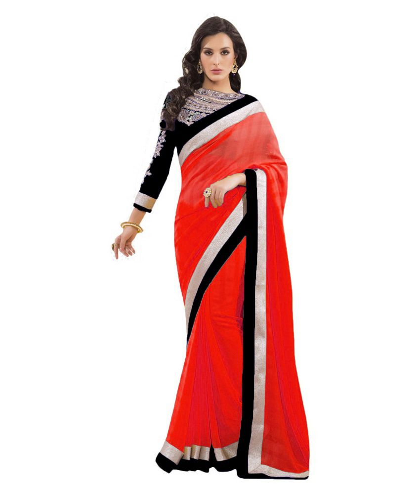 696bb3f4226 Plain Red Saree With Black Blouse