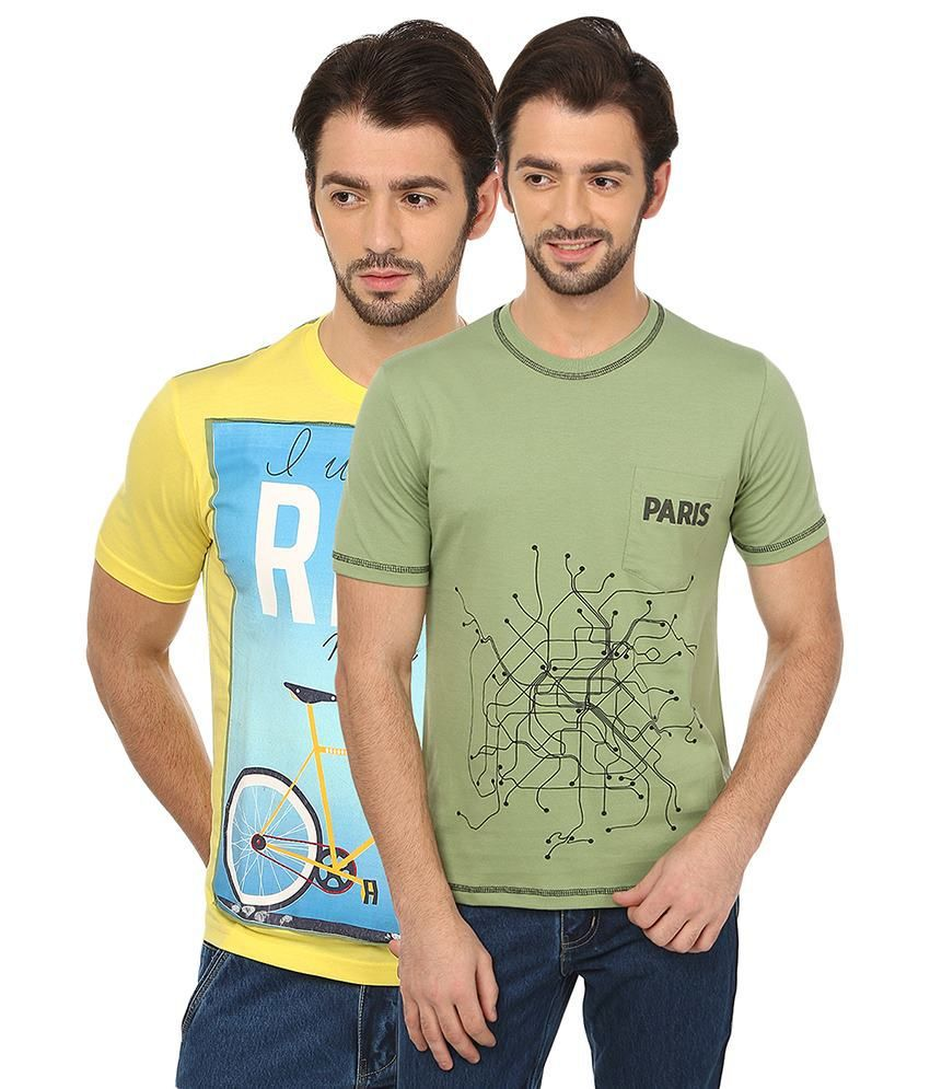 Date And Time Combo Of 2 Yellow & Green Round Neck T Shirts