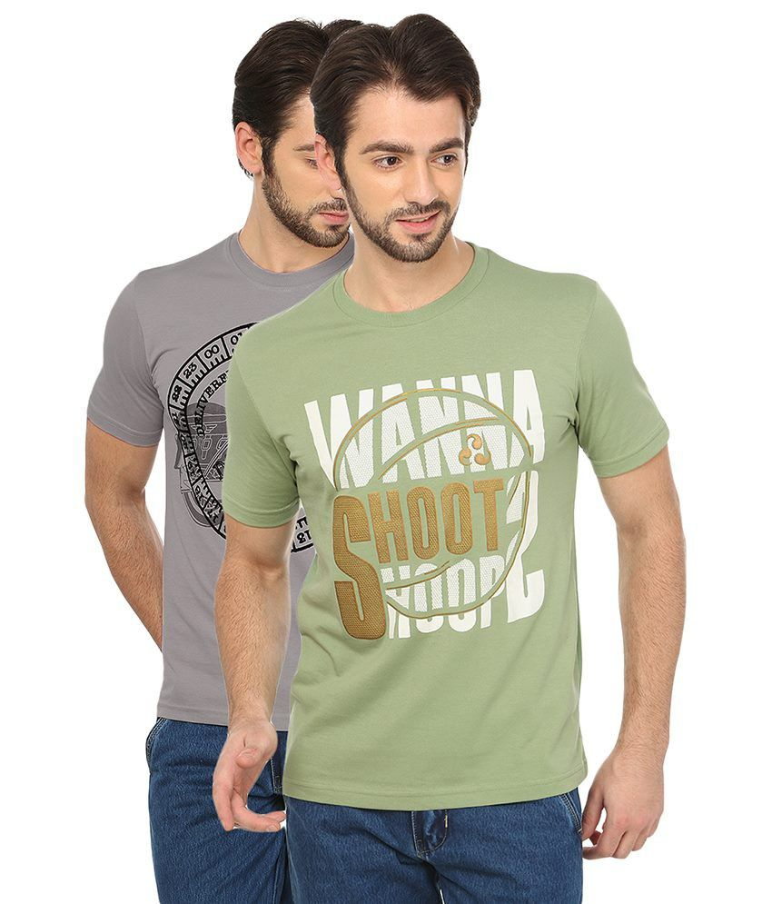Date And Time Grey and Green Cotton Blend T-Shirt - Pack of 2