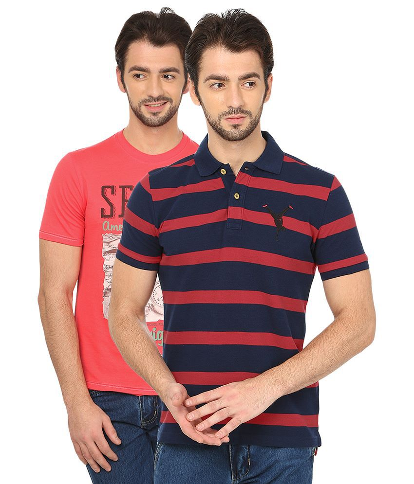 Date And Time Multicolour Cotton Blend Half Sleeves T Shirt - Pack of 2