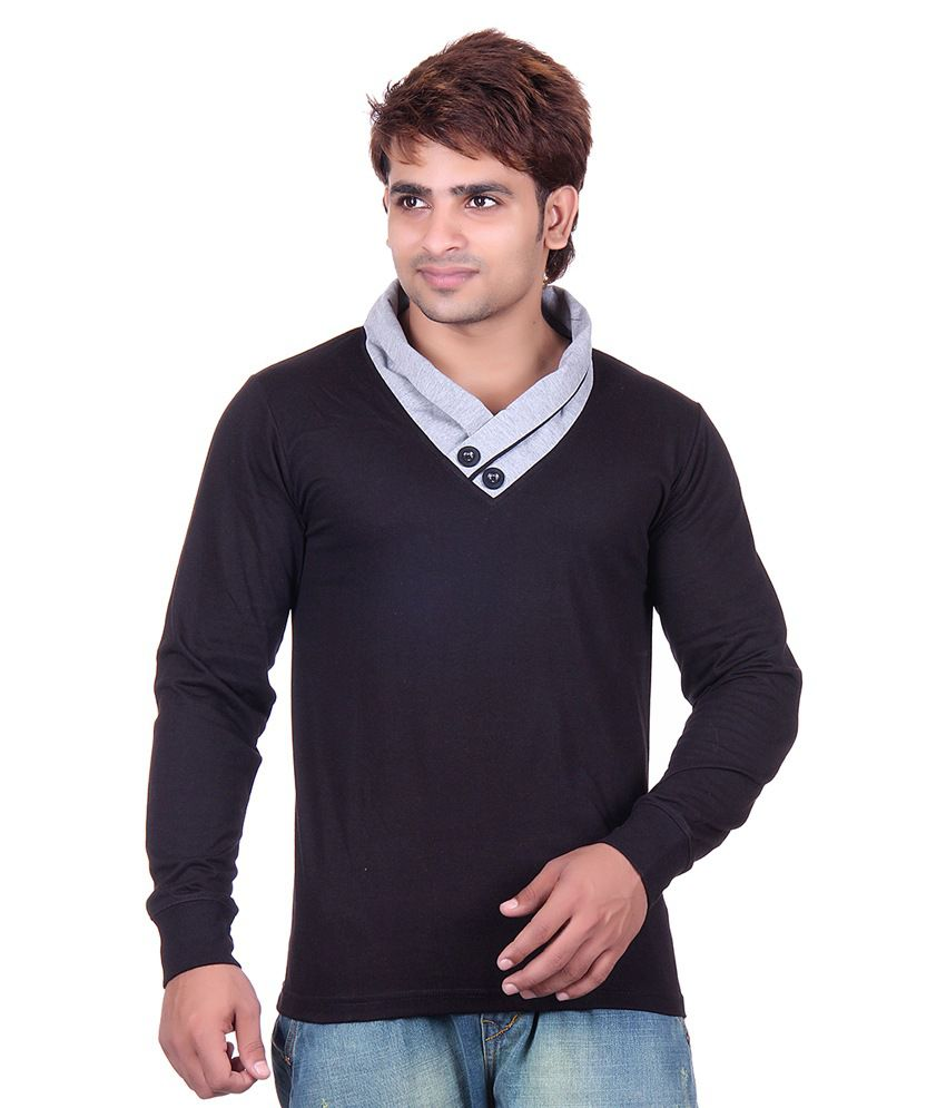 Vivid Bharti Black V-Neck T-Shirt