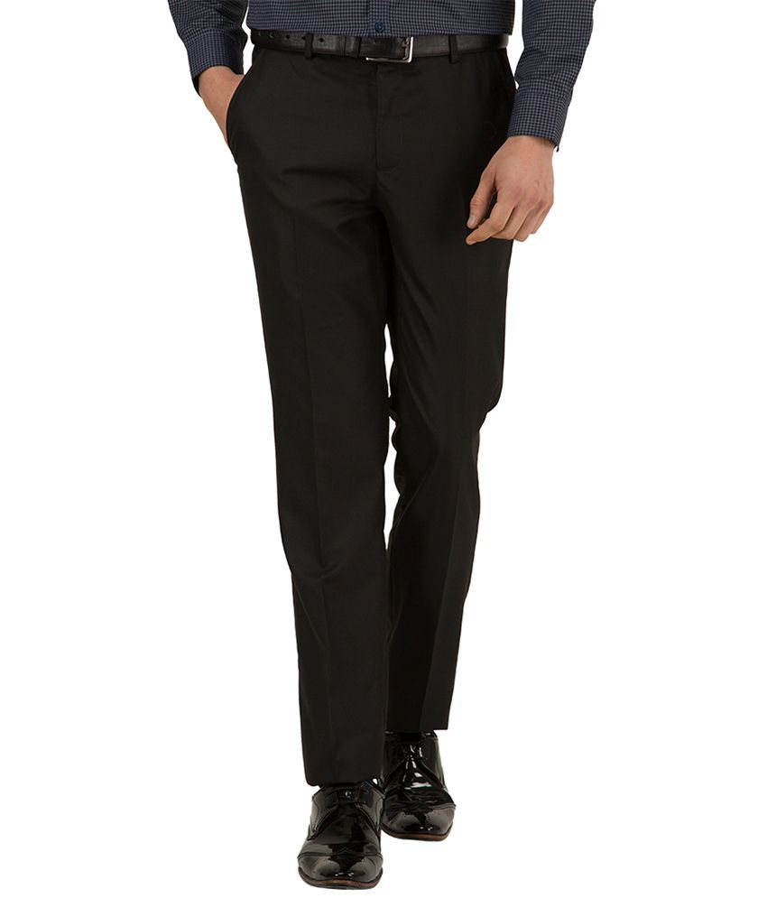 Black Coffee Black Regular Fit Formal Trousers