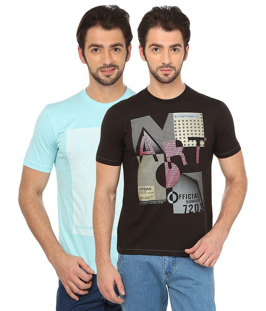 Date And Time Turquoise And Black Cotton Blend T-Shirt - Pack Of 2