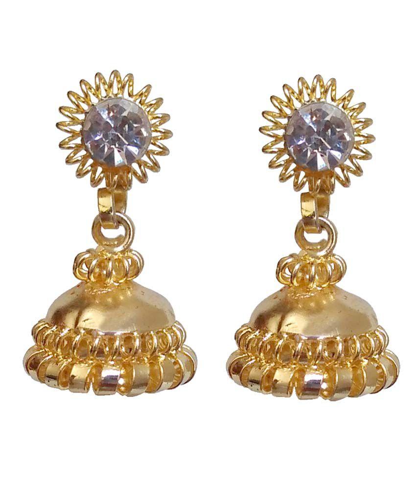 Global Traders Golden Brass Hanging Earrings