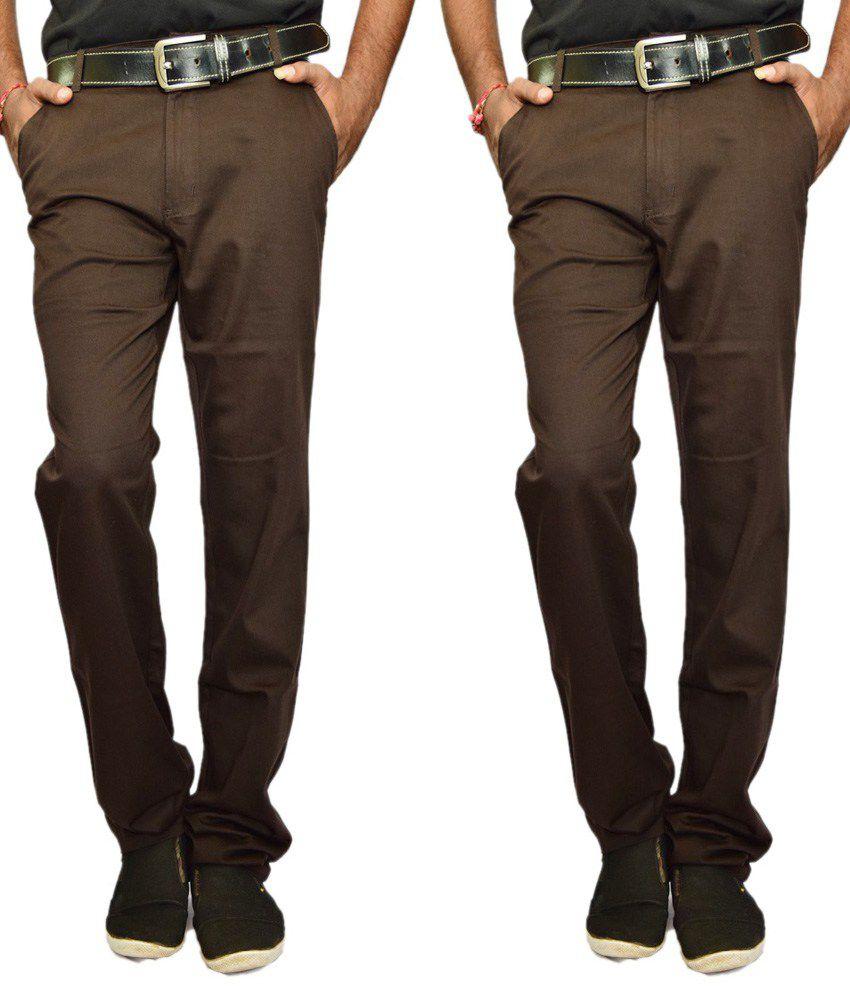 Rock Ford Brown Regular Fit Casual Trouser Set Of 2