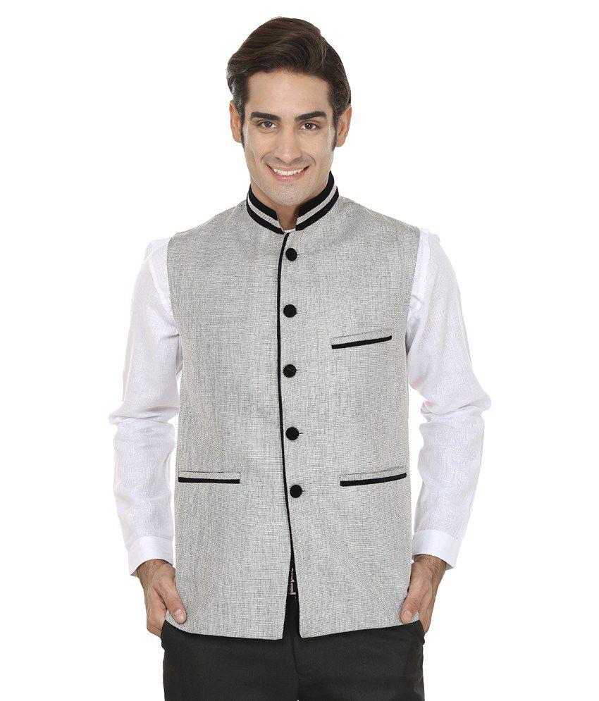 Wintage Silver Rayon Waistcoat
