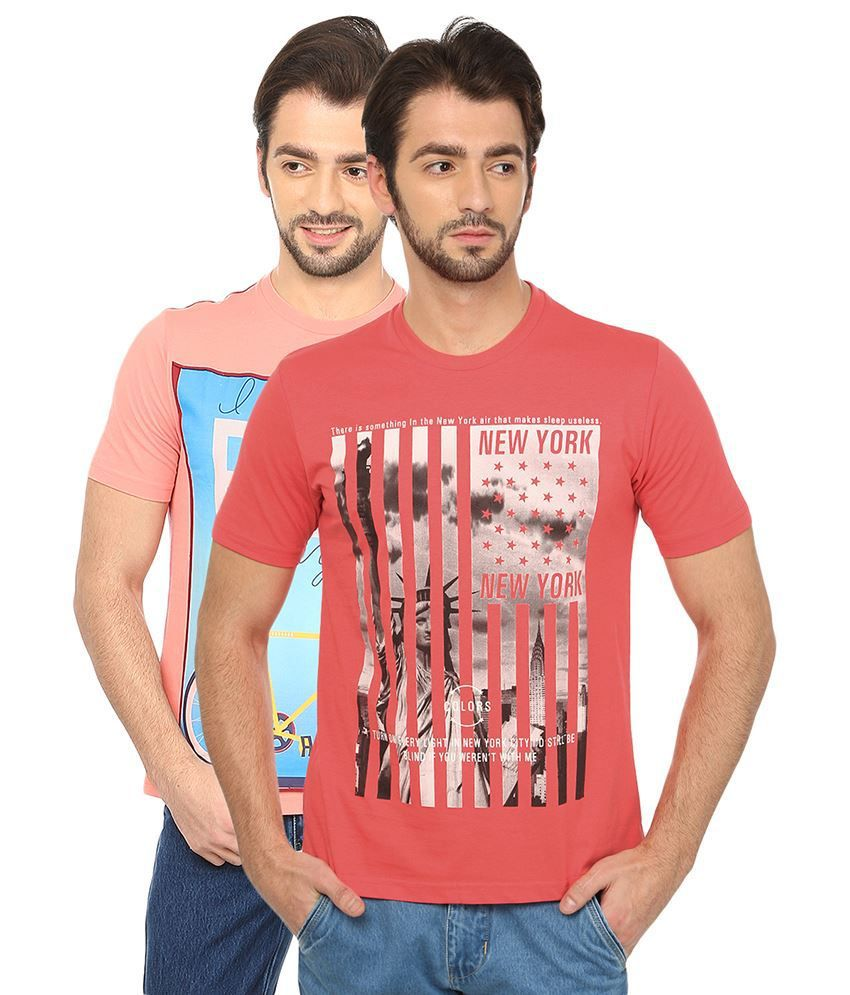 Date And Time Combo Of 2 Pink Round Neck T Shirts