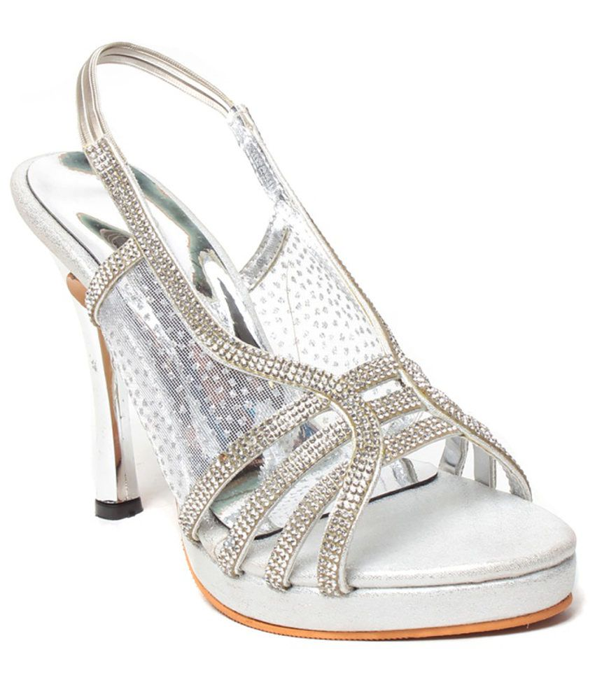 945b8138436 Eliana Stylish Silver Heeled Sandals Price in India- Buy Eliana Stylish  Silver Heeled Sandals Online at Snapdeal