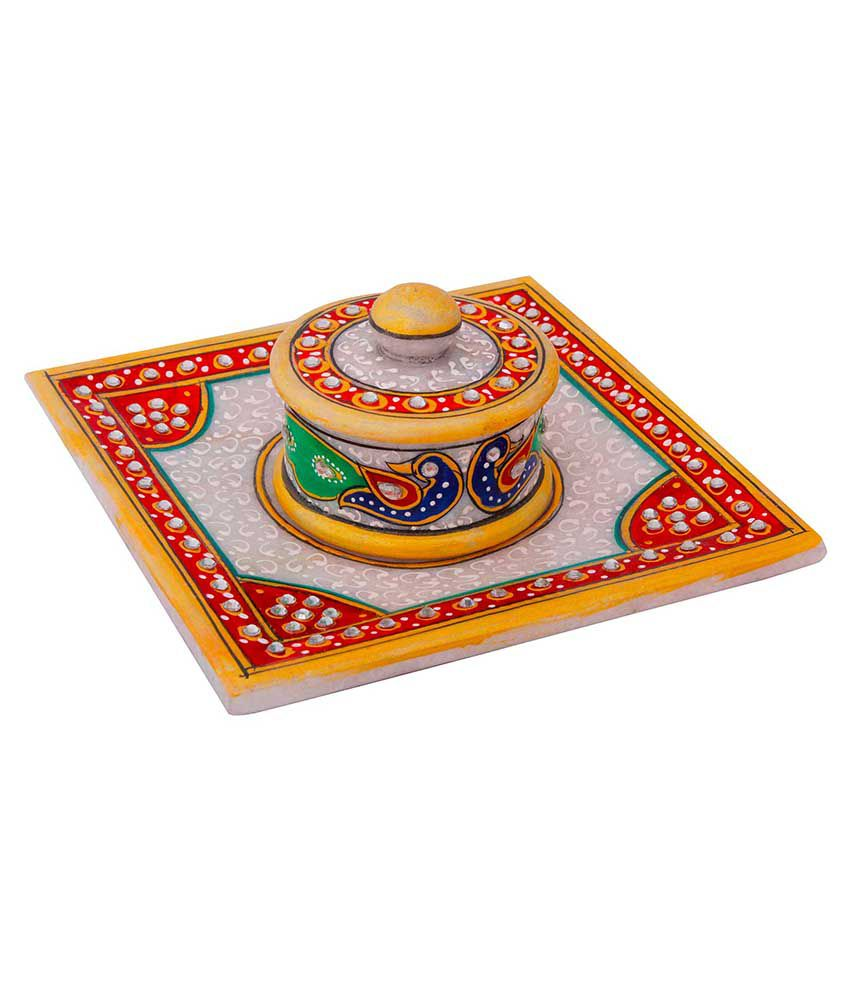 Jaipur Raga Gold Meenakari Work Marble Jewellary Box And Tray