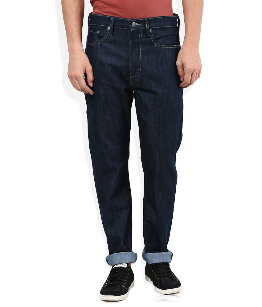 Levi's Navy Raw Denim Regular Fit Jeans 522