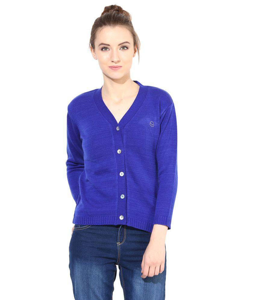 The Vanca Blue Woollen Buttoned Cardigan