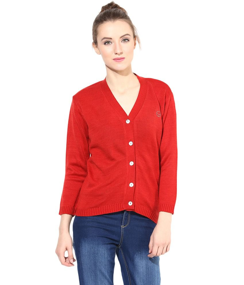 The Vanca Red Woollen Buttoned Cardigan
