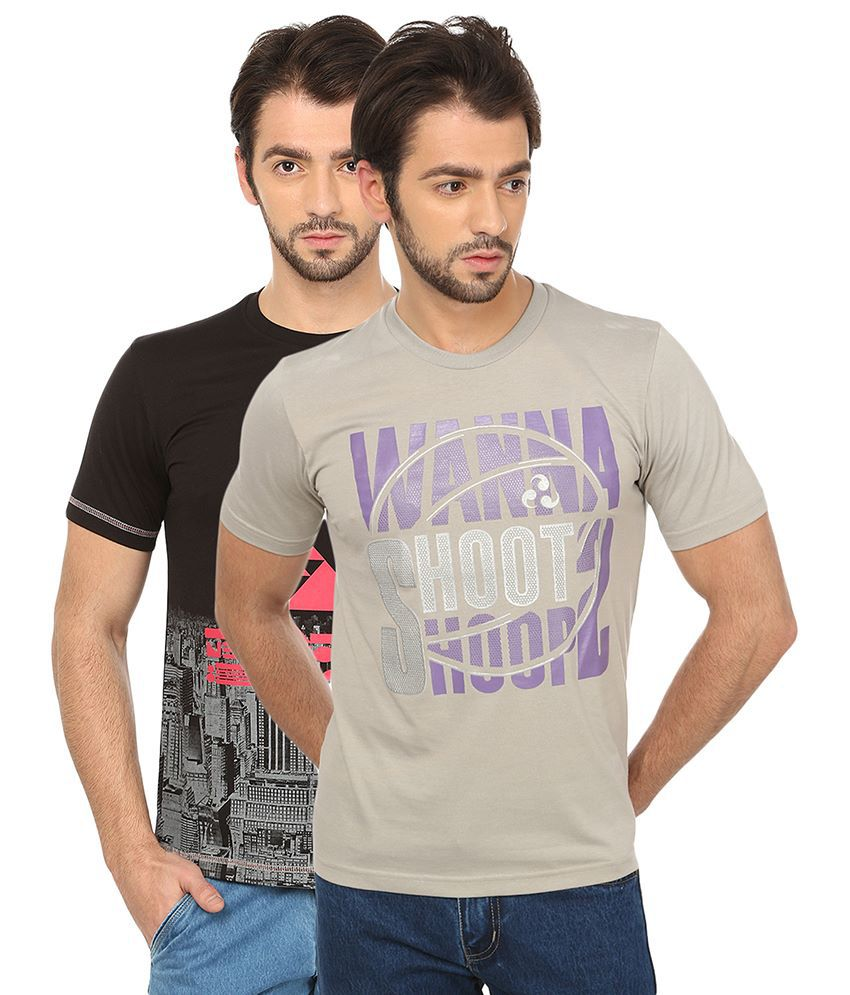 Date And Time Combo Of 2 Black And Gray Round Neck T Shirts