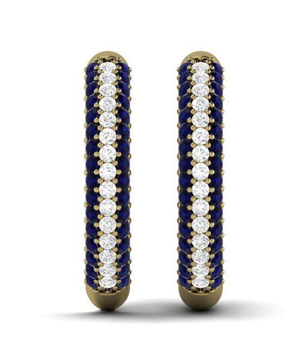 Kataria Jewellers Blue Sapphire Gemstone Gold Plated Hoop Earrings in 92.5 BIS Hallmarked Silver