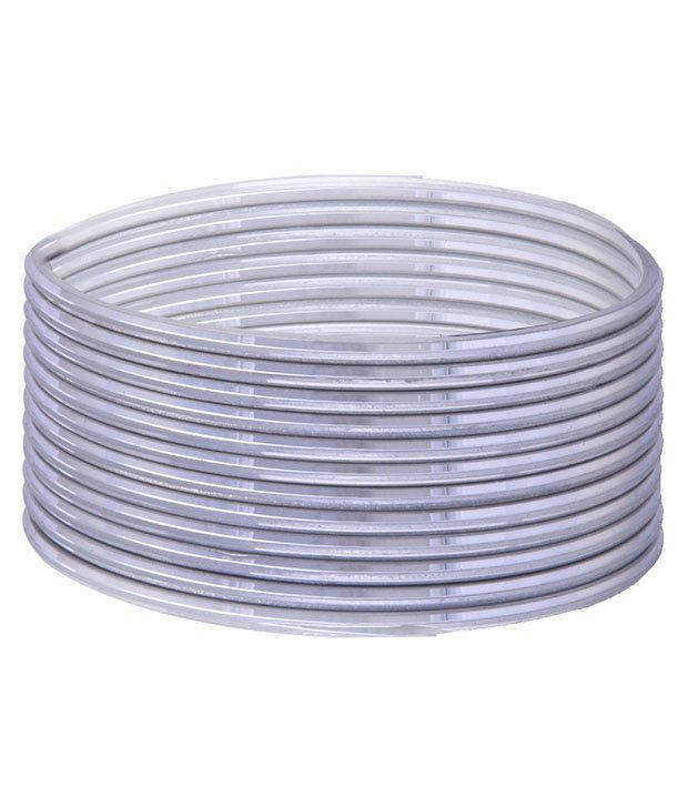 Sheetal Plastics Silver Glass Bangle Set - 1 Dozen