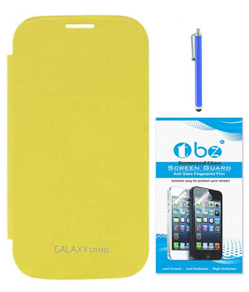 Tbz Yellow Flip Cover For Samsung Galaxy Grand Duos I9082 With Screen Guard And Stylus