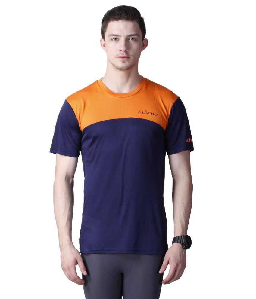 Atheno Blue Polyester T-shirt