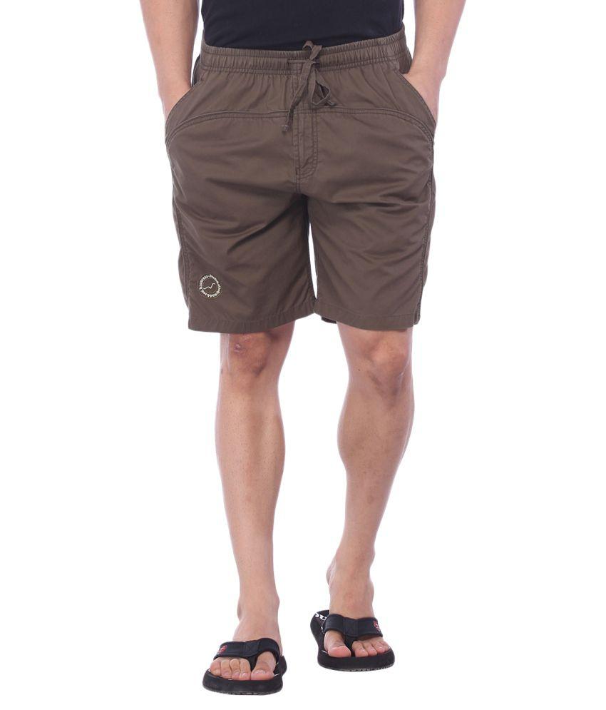 Bornfree Brown Cotton Solid Shorts