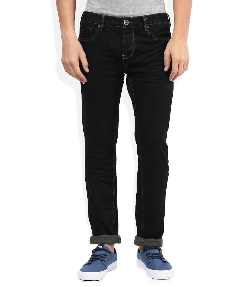 BreakBounce Black Raw Denim Regular Fit Jeans