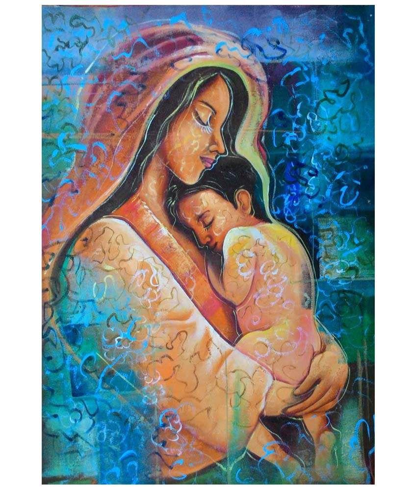 Varun Kalart Textured Mother Child Canvas Art Painting Without Frame