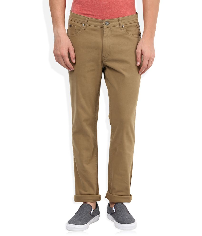 American Swan Brown Slim Fit Casual Trousers