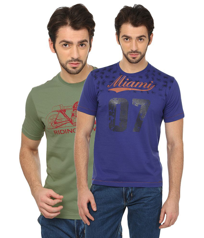 Date And Time Green & Purple Cotton Blend T-Shirt Pack Of 2