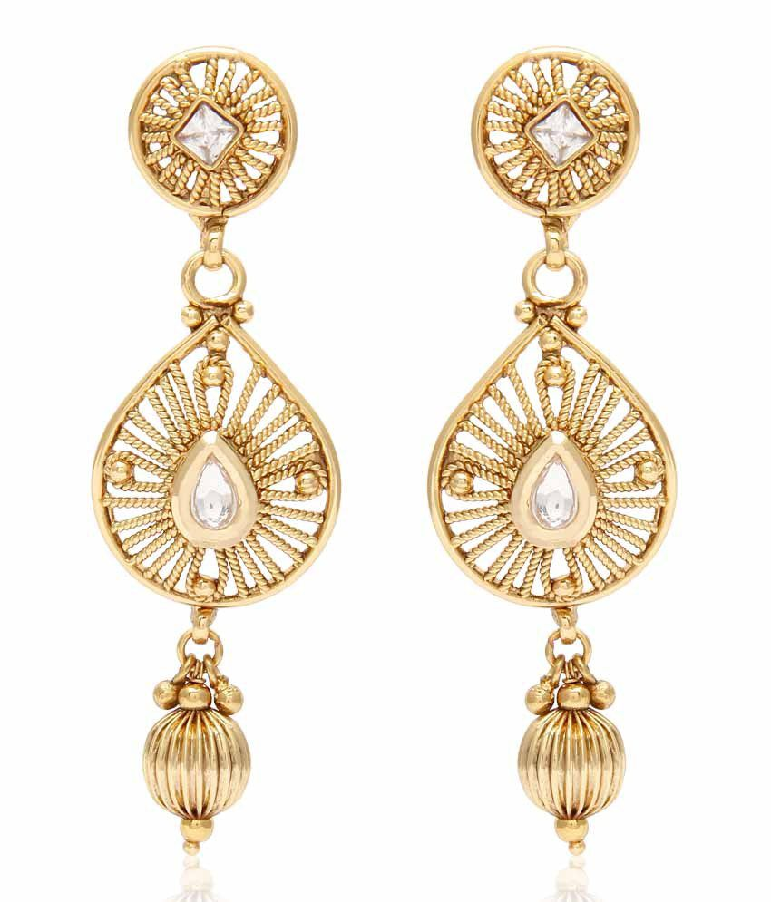 Jewels Galaxy Artistically Crafted Gold Plated Earrings