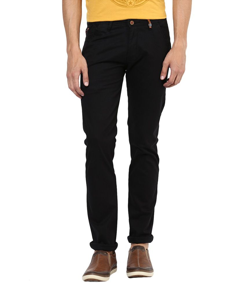 Urban Navy Black Cotton Slim Fit Casual Chinos