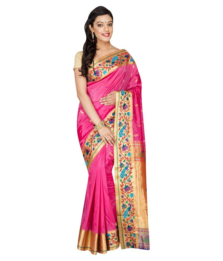Mahila Silks Pink Art Silk Saree
