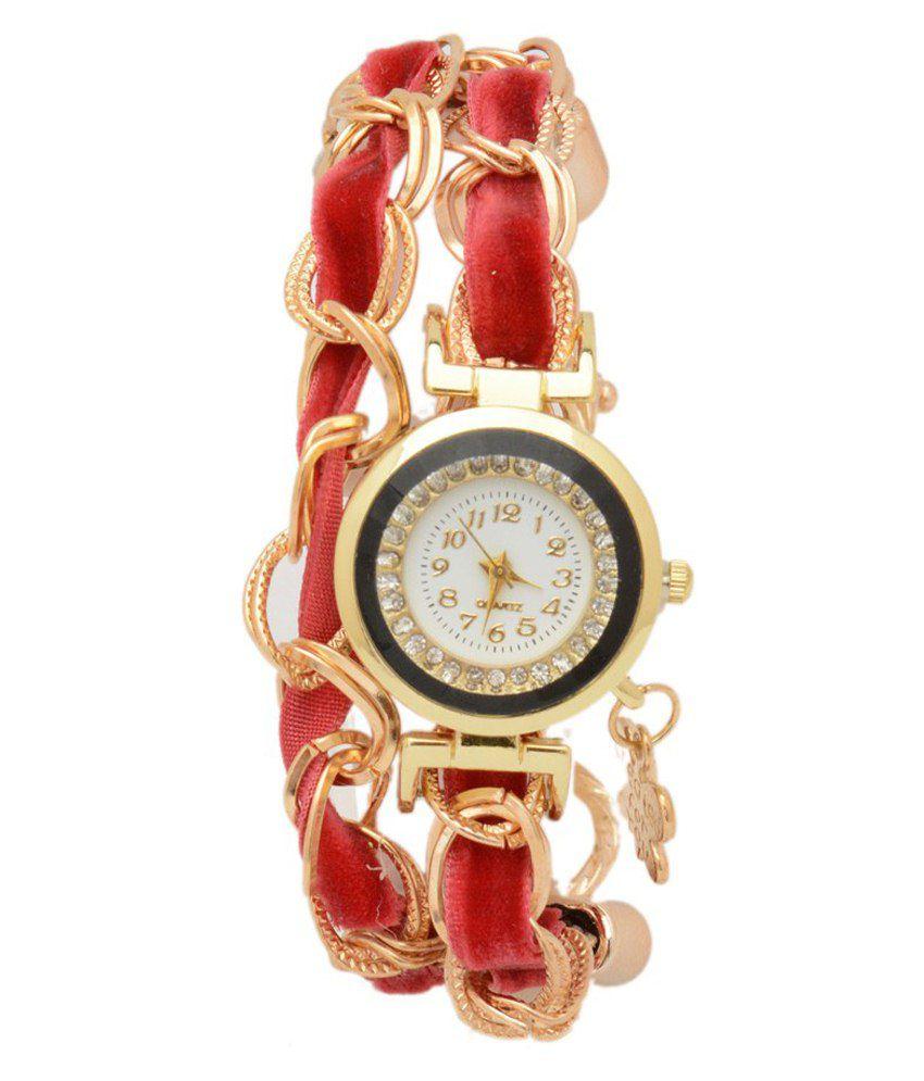 Shopaholic Fashion Maroon Writst Watch