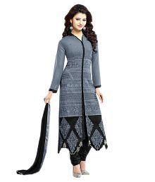 Mahalaxmi Fashion Grey Georgette Semi Stitched Dress Material