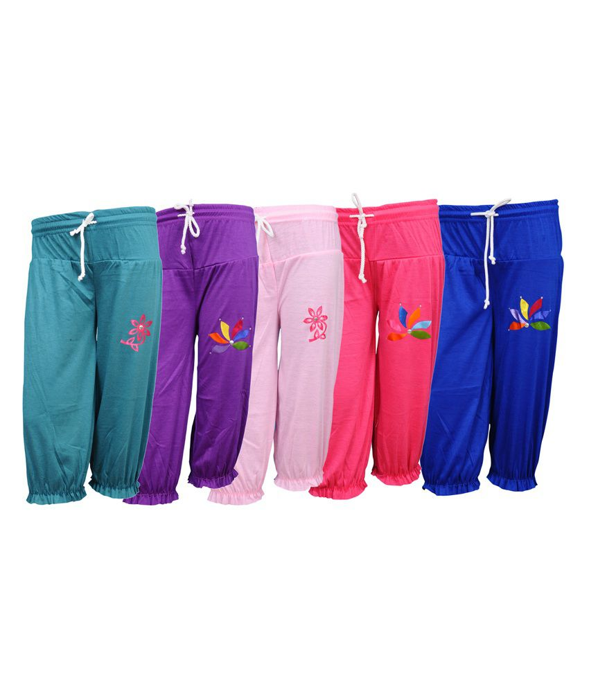 Bodymate Multicolor Cotton Blend Capris - Pack Of 5