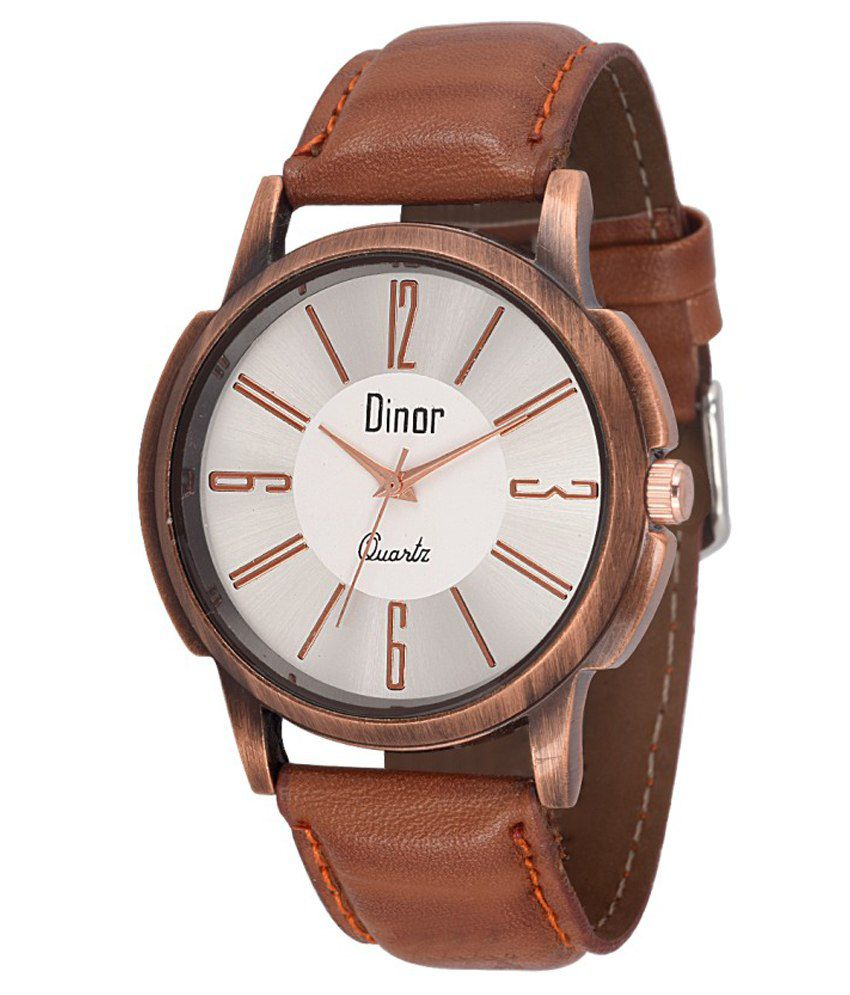 Dinor Brown Leather Analog Watch