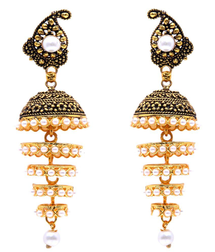 GoldNera Golden Pearl Jhumkis