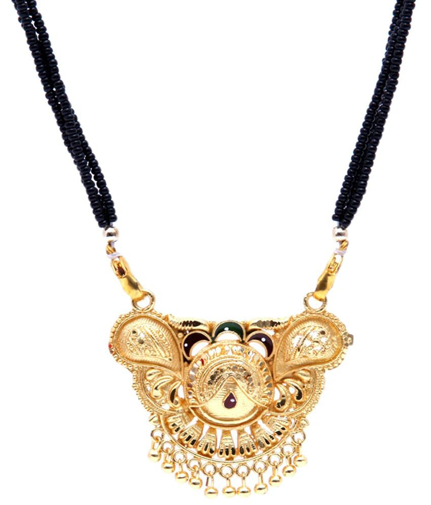 GoldNera Golden Beaded Mangalsutra with Chain