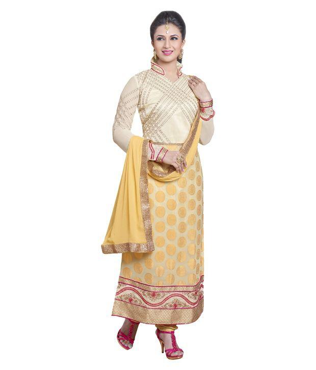 Pavitra Tex Yellow Georgette Pakistani Suits Semi Stitched Dress Material
