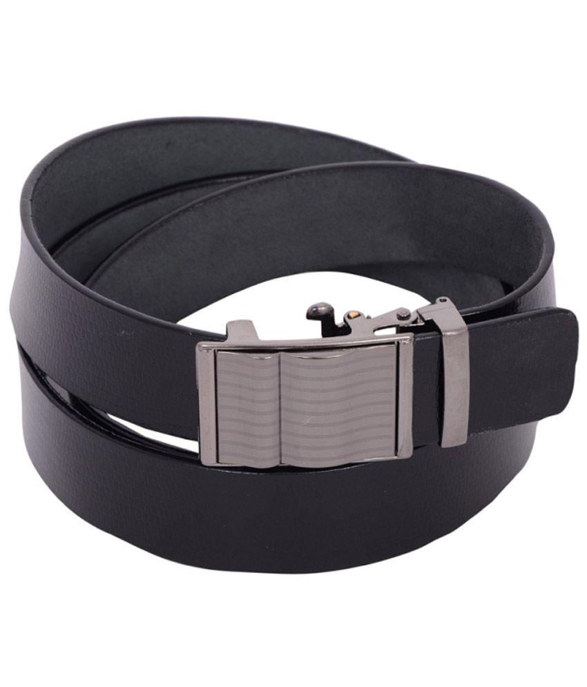 Qasam Black Leather Formal Belts