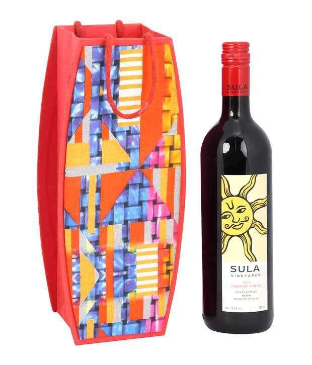 Rajrang Red Cardboard Paper Printed Wine Bottle Holder