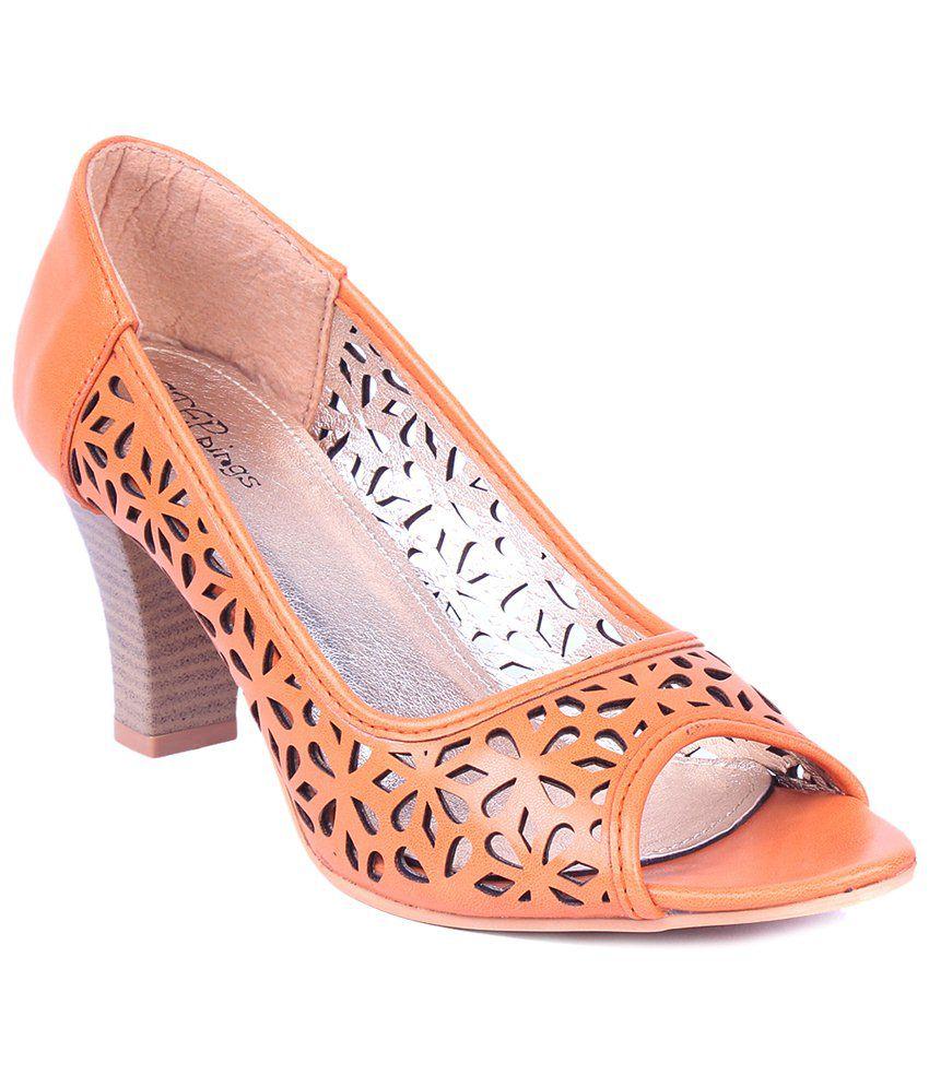 STEPpings Orange & Brown Block Heeled Slip Ons