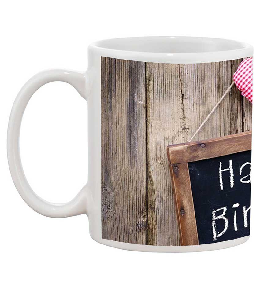 Tia Creation White Ceramic Happy Birthday Gift Coffee Mug
