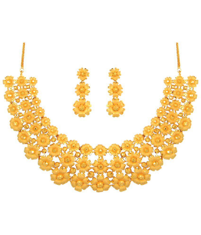 Anjali Jewellers Golden Floral Necklace Set - Buy Anjali Jewellers ...