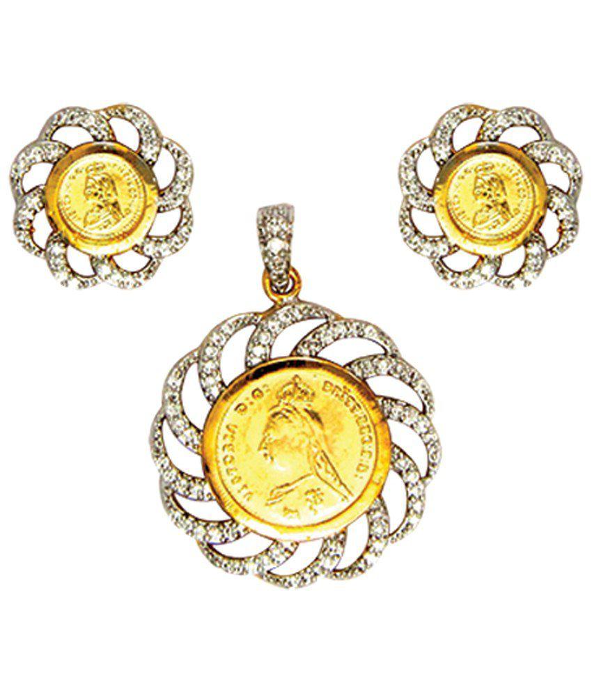 Anjali Jewellers Golden & Silver Colour American Diamond Pendant ...