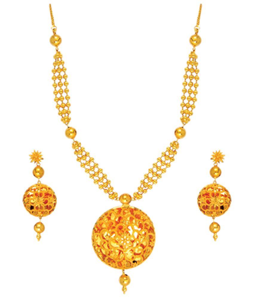 Anjali Jewellers Golden Traditional Necklace Set - Buy Anjali ...