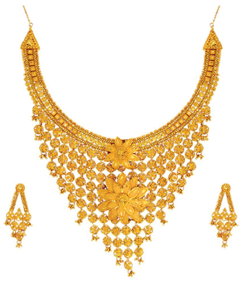 Anjali Jewellers Golden Traditional Necklace Set - Buy Anjali ...
