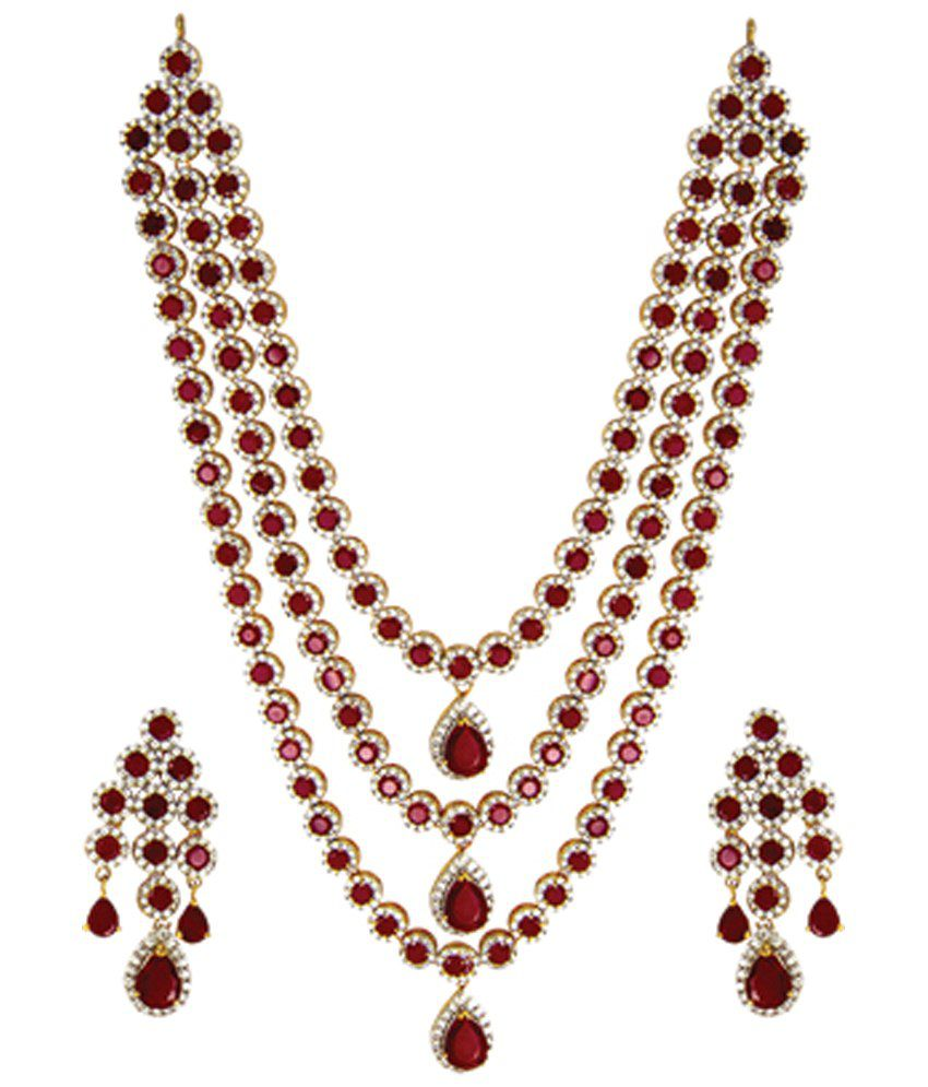 a fancy golden thread necklace set maroon stick