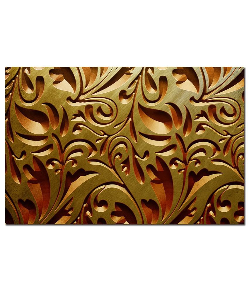 Anwesha's Gallery Wrapped Digitally Printed Canvas Wall Painting 30X20 Inch Golden Leaves