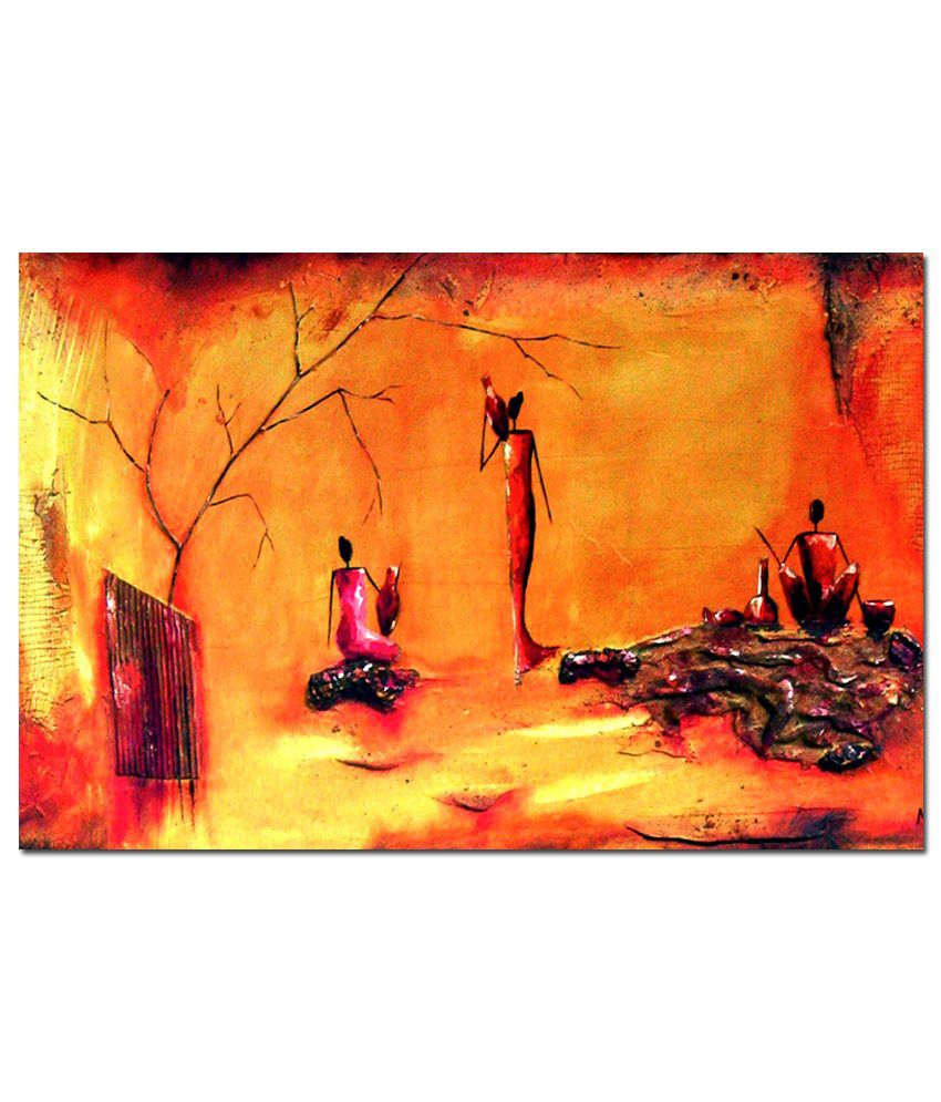 Anwesha's Gallery Wrapped Digitally Printed Canvas Wall Painting 30X20 Inch Abstract Oil Painting