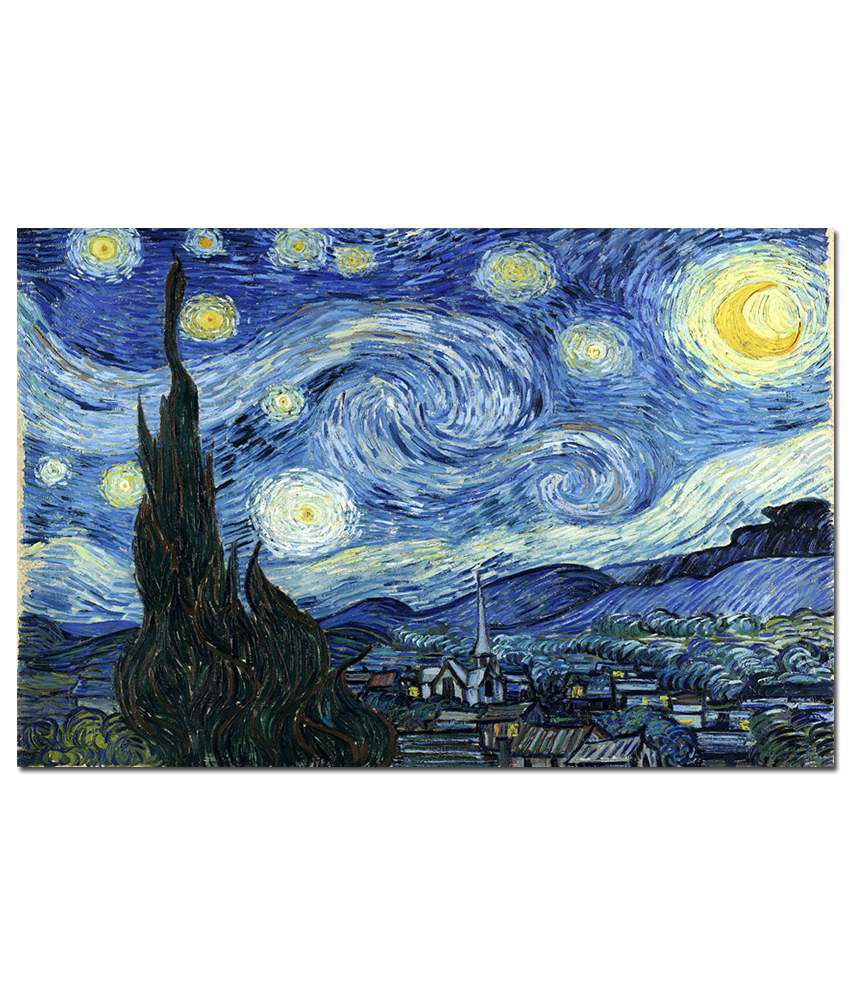 Anwesha's Gallery Wrapped Digitally Printed Canvas Wall Painting 30X20 Inch Vincent Van Gogh - Starry Night